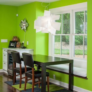 Inspiration For A Contemporary Dark Wood Floor Dining Room Remodel In Atlanta With Green Walls