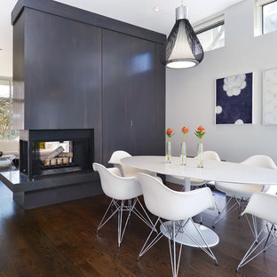 Example of a minimalist dining room design in Chicago with a two-sided fireplace