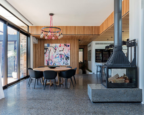 This Is An Example Of A Contemporary Dining Room In Sydney With Concrete  Floors, White Part 43