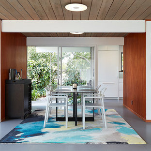 Midcentury. Clear All · Dining Room   1950s Gray Floor Dining Room Idea In  San Francisco With Brown Walls