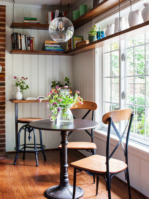 Farmhouse Medium Tone Wood Floor And Brown Kitchen Dining Room Combo Idea In Richmond