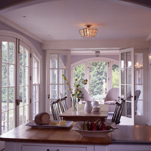 Medium sized coastal dining room in Boston.