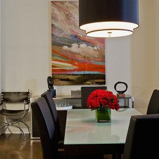 Mid-sized trendy dark wood floor dining room photo in Boston with beige walls