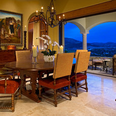 Mediterranean Dining Room by Christopher Bowden Photography, LLC