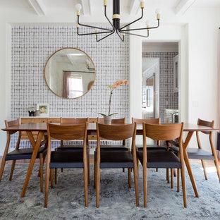 Dining room - scandinavian medium tone wood floor dining room idea in Los Angeles with gray walls
