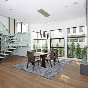 Immagine di una grande sala da pranzo aperta verso il soggiorno moderna con pareti bianche, pavimento in legno massello medio e camino ad angolo