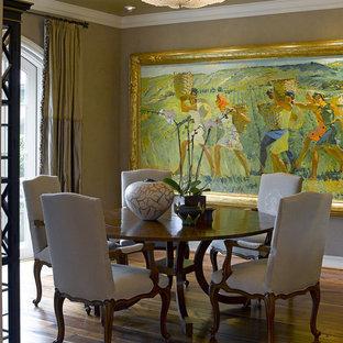 Elegant dark wood floor dining room photo in San Francisco with beige walls