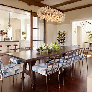 Example Of A Country Dark Wood Floor Enclosed Dining Room Design In San Francisco With Beige