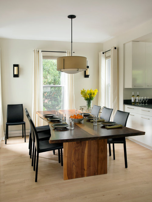 live edge dining room table. Contemporary light wood floor kitchen dining room combo idea in Boston with  white walls Live Edge Dining Table Houzz