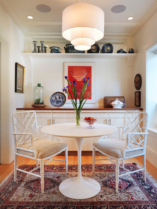 Transitional Medium Tone Wood Floor Dining Room Idea In Boston With White Walls