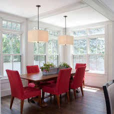 Transitional Dining Room by Foley Fiore Architecture
