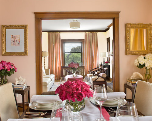 Amazing Inspiration For A Timeless Enclosed Dining Room Remodel In Boston With Pink  Walls