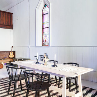 Inspiration for a cottage white floor great room remodel in Toronto with white walls