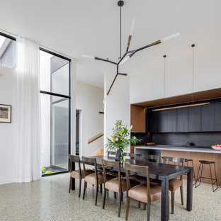 Design ideas for a contemporary kitchen/dining combo in Canberra - Queanbeyan with white walls and no fireplace.