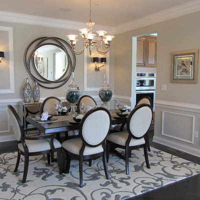 Inspiration for a contemporary brown floor dining room remodel in Boston with gray walls