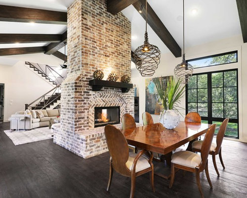 Inspiration For A Transitional Dark Wood Floor And Black Great Room Remodel In Austin With