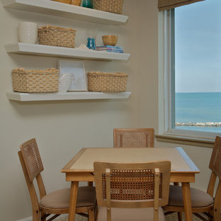 Small nautical open plan dining room in Toronto with grey walls, carpet, no fireplace and grey floors.