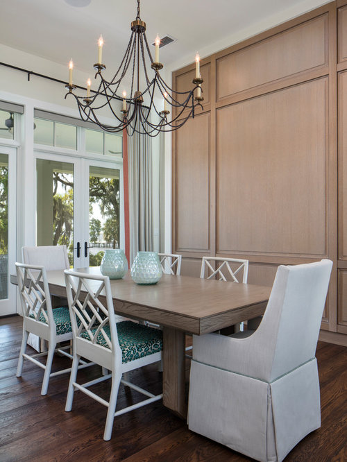 Transitional Dining Room Photo In Jacksonville With White Walls Dark Wood Floors And Brown