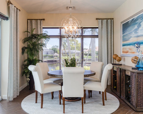Mid Sized Transitional Brown Floor And Porcelain Floor Dining Room Idea In  Miami With Beige