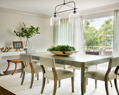 Beach Style Dark Wood Floor And Brown Enclosed Dining Room Idea In Boston With Beige