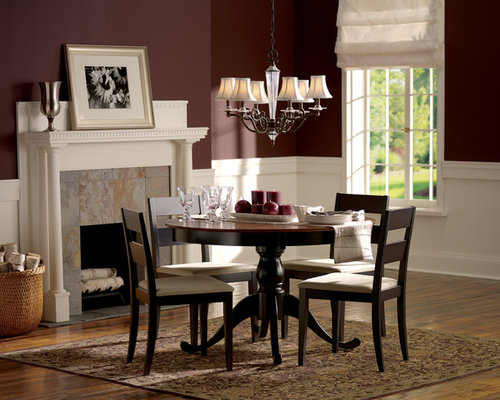 Traditional Dark Wood Floor Dining Room Idea In New York With Red Walls And A Standard