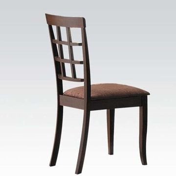 Cardiff Side Chairs, Espresso and Dark Brown Microfiber, Set of 2