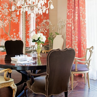 Traditional dining room in Miami with beige walls and dark hardwood floors.