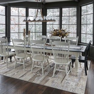 Enclosed dining room - mid-sized cottage dark wood floor and brown floor enclosed dining room idea in Orange County