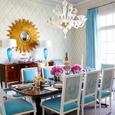 Inspiration for a mid-sized eclectic carpeted and brown floor enclosed dining room remodel in Dallas with white walls and no fireplace