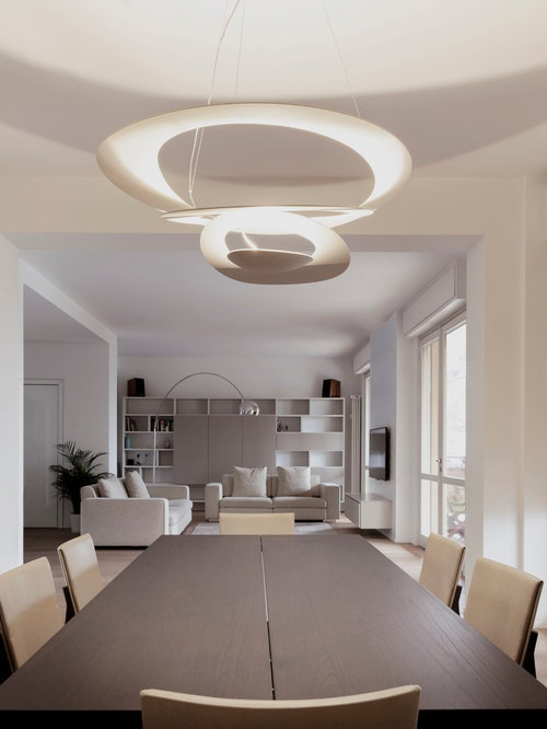 Inspiration For A Modern Light Wood Floor Great Room Remodel In Milan With  White Walls Part 73