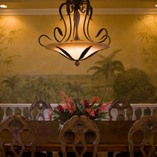 Tropical Dining Room by JMA INTERIOR DECORATION