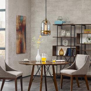 Immagine di una sala da pranzo moderna di medie dimensioni con pareti grigie, pavimento in compensato e pavimento grigio