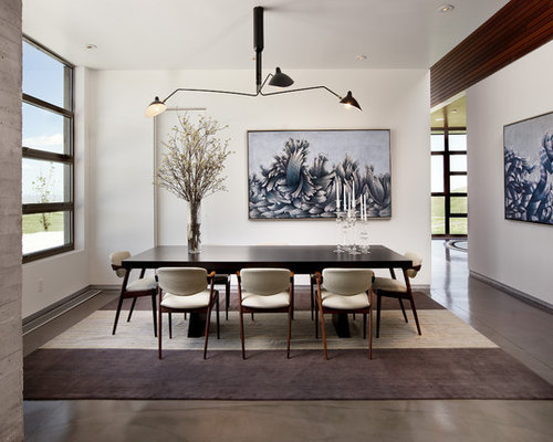 Mid Sized Modern Concrete Floor Enclosed Dining Room Idea In Los Angeles  With White Walls