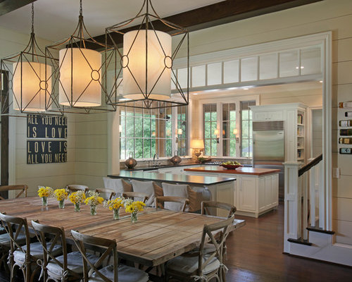 Mountain Style Kitchen Dining Combo Photo In Atlanta With Dark Wood Floors And Brown