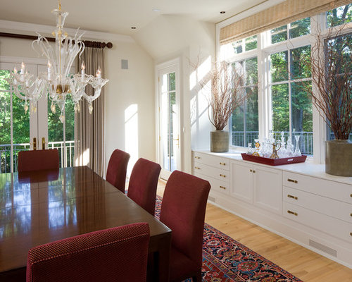 Traditional Medium Tone Wood Floor Dining Room Idea In Baltimore With White Walls