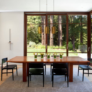 Design ideas for a medium sized modern enclosed dining room in San Francisco with white walls and medium hardwood flooring.