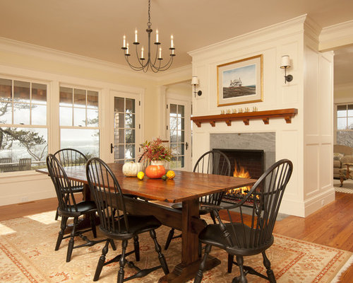 Victorian Medium Tone Wood Floor Dining Room Idea In Boston With Beige Walls And A Standard