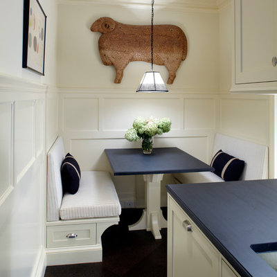 Kitchen/dining room combo - traditional kitchen/dining room combo idea in New York with white walls