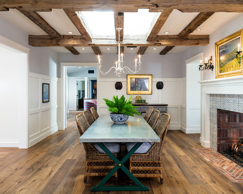 Inspiration For A Farmhouse Medium Tone Wood Floor And Brown Enclosed Dining Room Remodel In