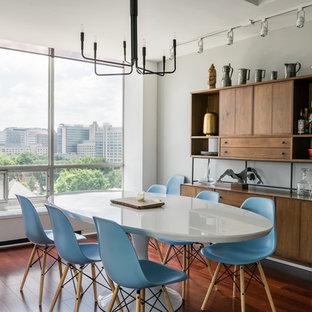 Удачное сочетание для дизайна помещения: столовая в современном стиле с темным паркетным полом, серыми стенами и красным полом - самое интересное для вас