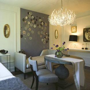 Foto di una sala da pranzo aperta verso il soggiorno eclettica di medie dimensioni con pareti grigie, pavimento in gres porcellanato e nessun camino