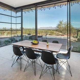 Southwest concrete floor and gray floor dining room photo in Phoenix