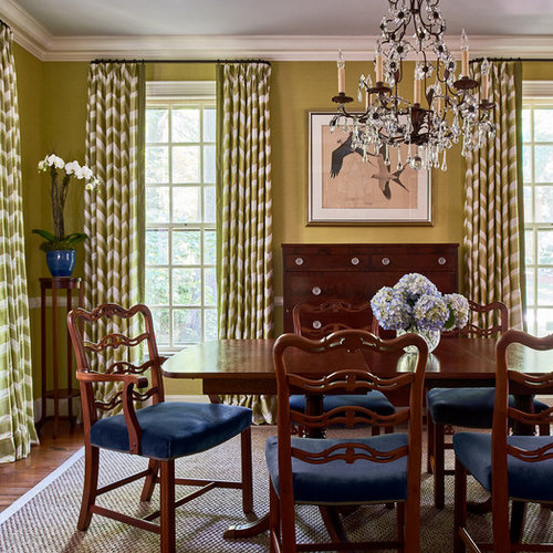 Example Of A Classic Dark Wood Floor And Brown Floor Enclosed Dining Room  Design In Charlotte Part 62