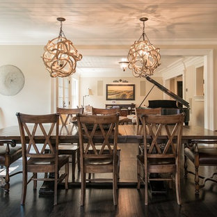 Mid-sized coastal dark wood floor enclosed dining room photo in New York with beige walls