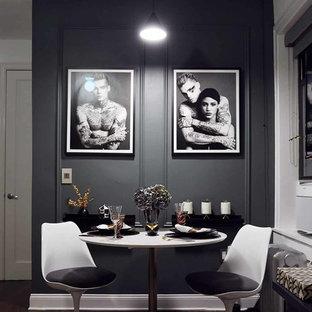 Idee per una piccola sala da pranzo classica con pareti grigie, parquet scuro, pavimento marrone e nessun camino