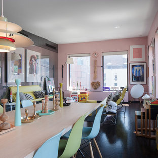 Inspiration for a mid-sized eclectic dark wood floor and brown floor great room remodel in New York with pink walls