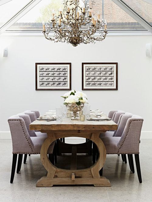 Inspiration For A Transitional Dining Room Remodel In London With White Walls