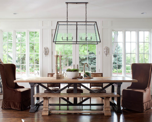 Large Elegant Dark Wood Floor Dining Room Photo In Denver With White Walls