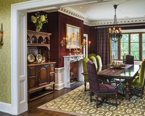 Mid Sized Victorian Dark Wood Floor And Brown Enclosed Dining Room Idea In New
