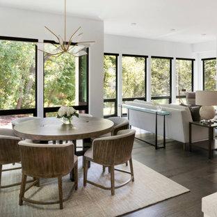 Moderne Wohnküche mit weißer Wandfarbe, dunklem Holzboden, Kamin und Kaminsims aus Metall in Minneapolis